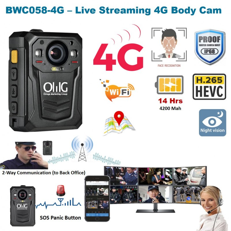 BWC058-4G - OMG Mini Body Worn Camera dengan Facial Recognition 4G