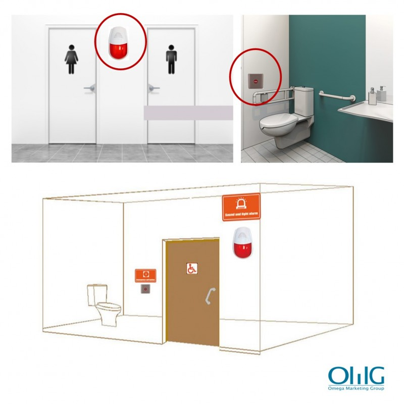 EA018 – OMG Wireless Waterproof Public Toilets Alarm (Sound & Light) - sample placement