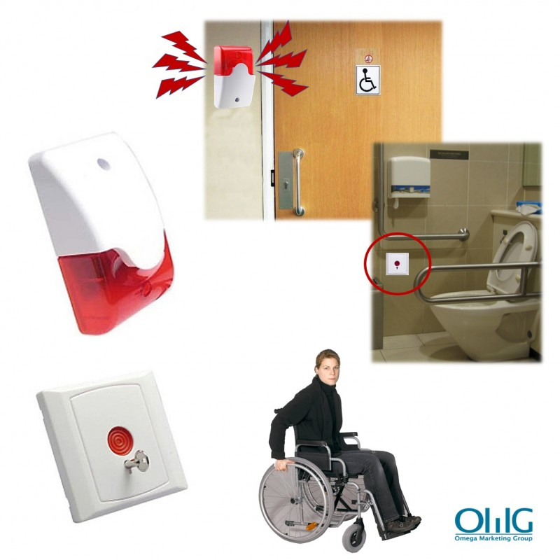 EA033 - Toilet Emergency Alarm for Disabled Handicap (Strobe Light Siren + Emergency Panic Push Button) - New 2