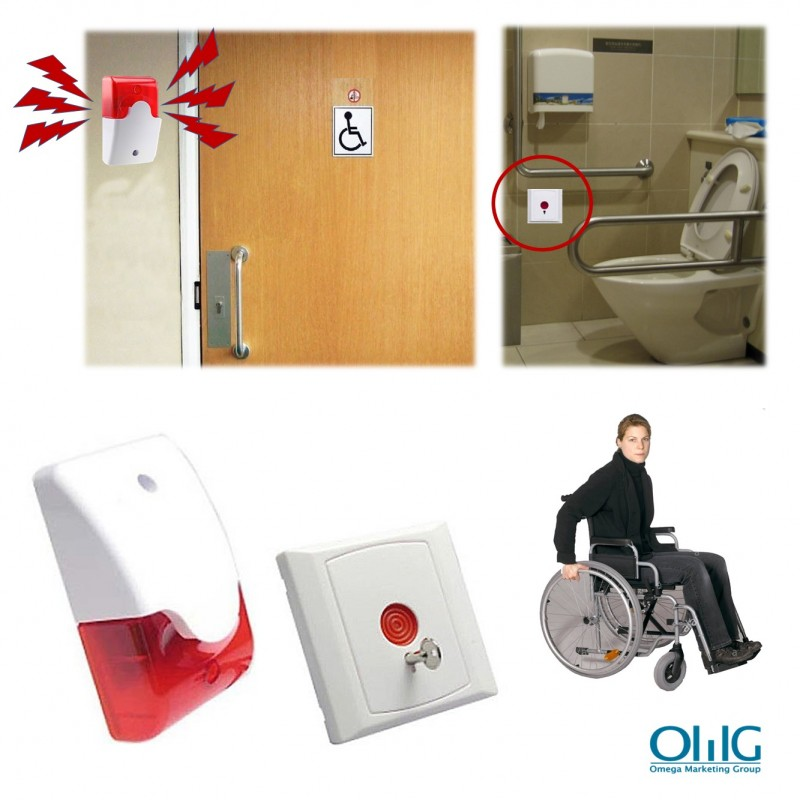 EA033 - Toilet Emergency Alarm for Disabled Handicap (Strobe Light Siren + Emergency Panic Push Button) - New 3