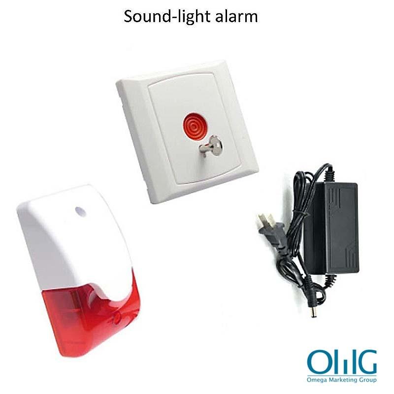 EA033 - Toilet Emergency Alarm for Disabled Handicap (Strobe Light Siren + Emergency Panic Push Button) - Set