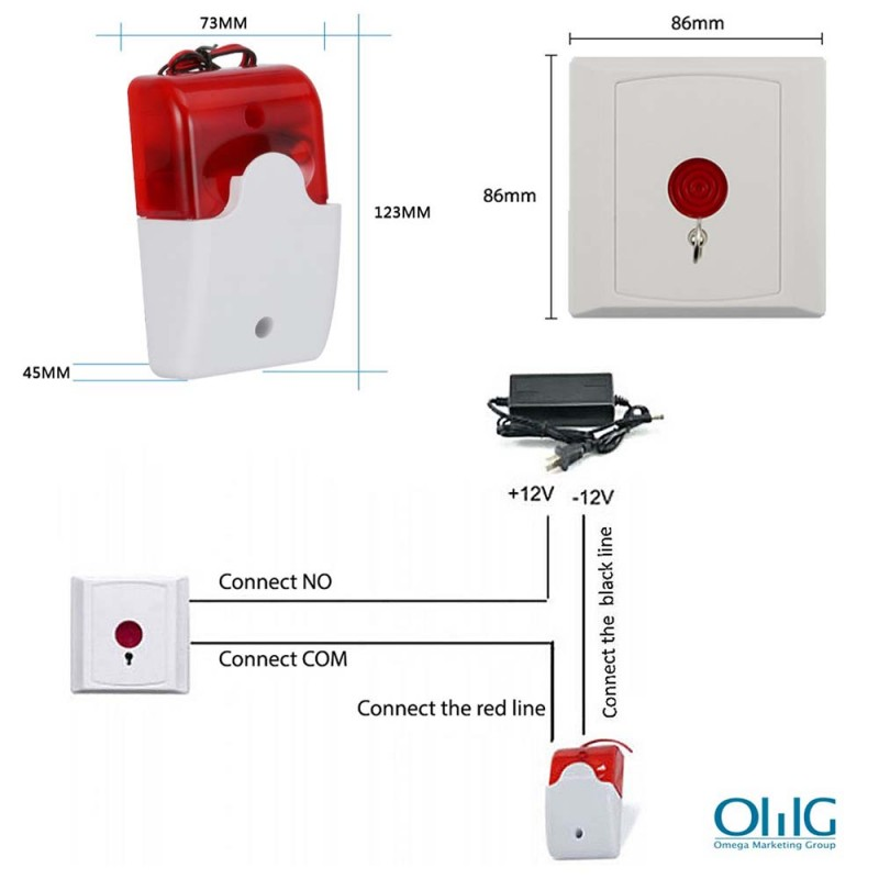 EA033 - Toilet Emergency Alarm for Disabled Handicap (Strobe Light Siren + Emergency Panic Push Button) - Size and Connectivity