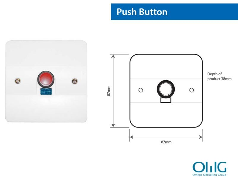 EA048 - OMG Disabled Handicap Toilet Pull String Alarm Kit - Push Button Size
