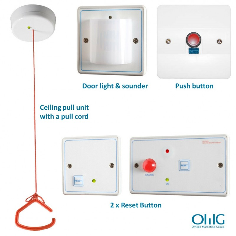 EA048 - OMG Disabled Handicap Toilet Pull String + Push Button Alarm Kit - All Component