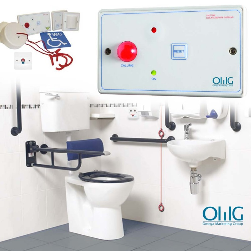 EA048 - OMG Disabled Handicap Toilet Pull String + Push Button Alarm Kit - Main Image