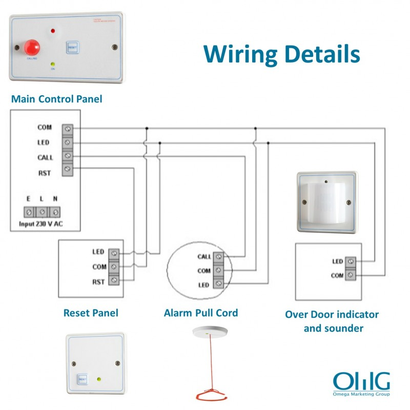 EA048 - OMG Disabled Handicap Toilet Pull String + Push Button Alarm Kit - Wiring Details