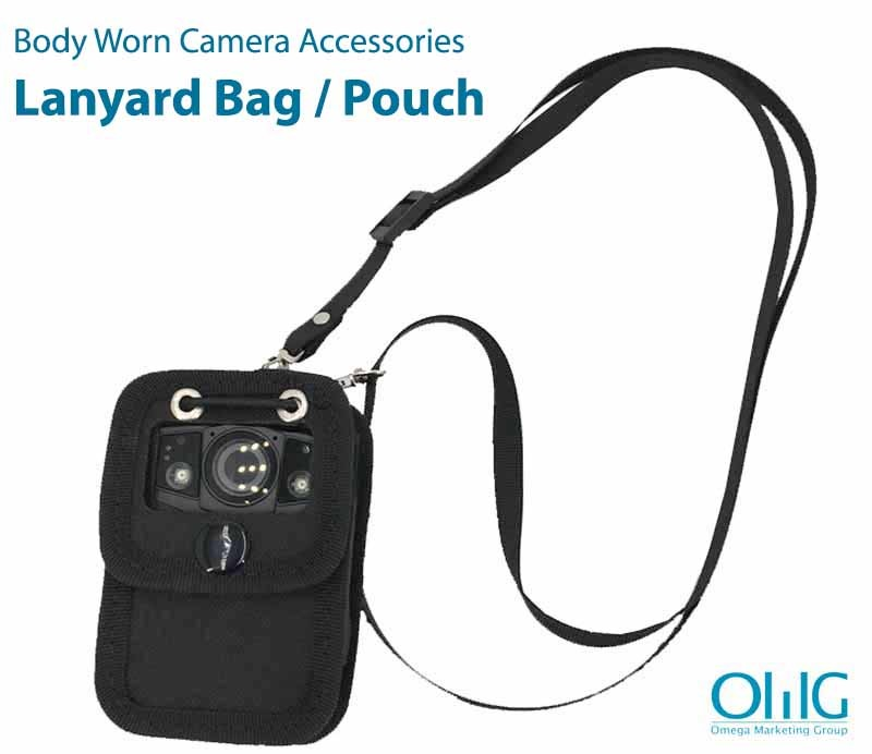 BWA004-LB - Lanyard Bag Pouch - Front View with sample Camera (Body Worn Camera Accessories)