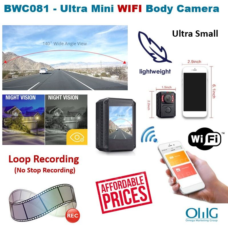BWC081 - Ultra Mini WIFI ọlọpa Ara Worn kamẹra (Iwọn 140 + Iran Night)