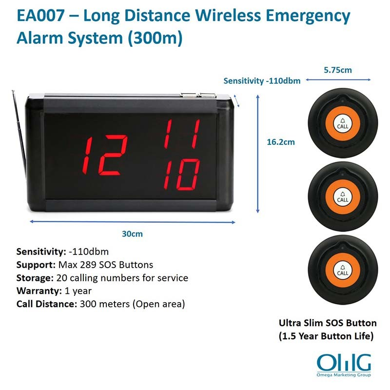 EA007 – OMG Long Distance Wireless Emergency Alarm System (300m)