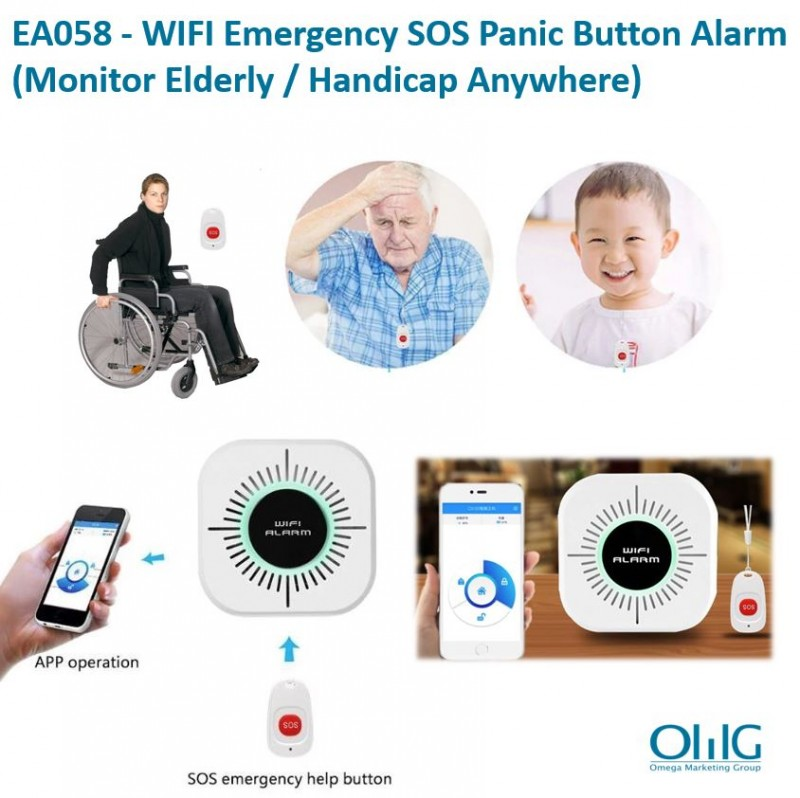 EA058 - OMG WIFI Remotely Alert Emergency SOS Panic Button Alarm (Monitor Elderly / Handicap Anywhere)