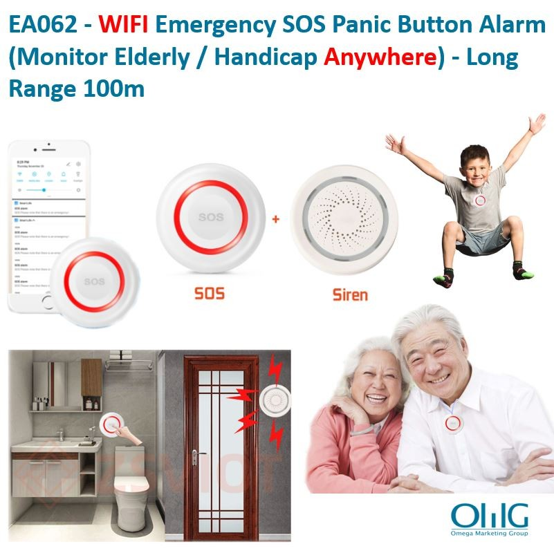 EA062 - WIFI Emergency SOS Panic Button Allarm (Monitor ta 'Anzjani - Handicap Anywhere) - Long Range 100m version 2