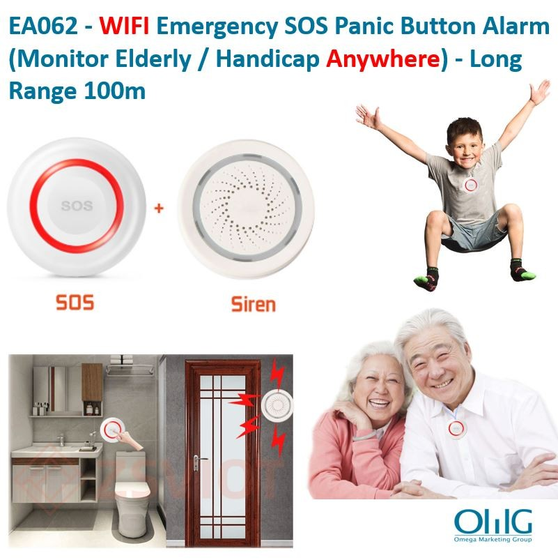 EA062 - WIFI Emergency SOS Panic Button Alarm (Monitor Elderly - Handicap Anywhere) - Long Range 100m