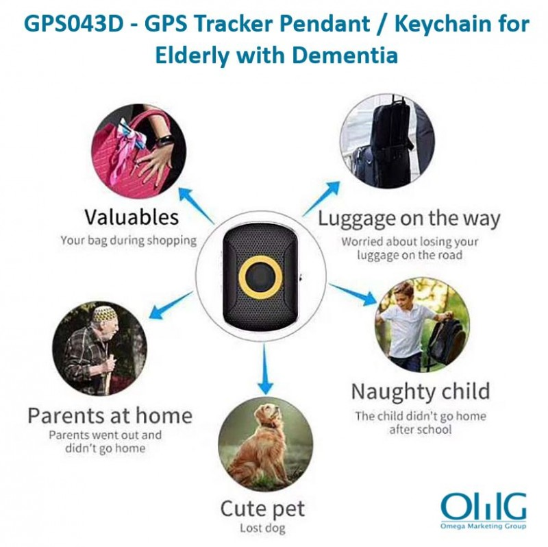 GPS043D - OMG GPS Tracker Pendant / Keychain for Elderly with Dementia