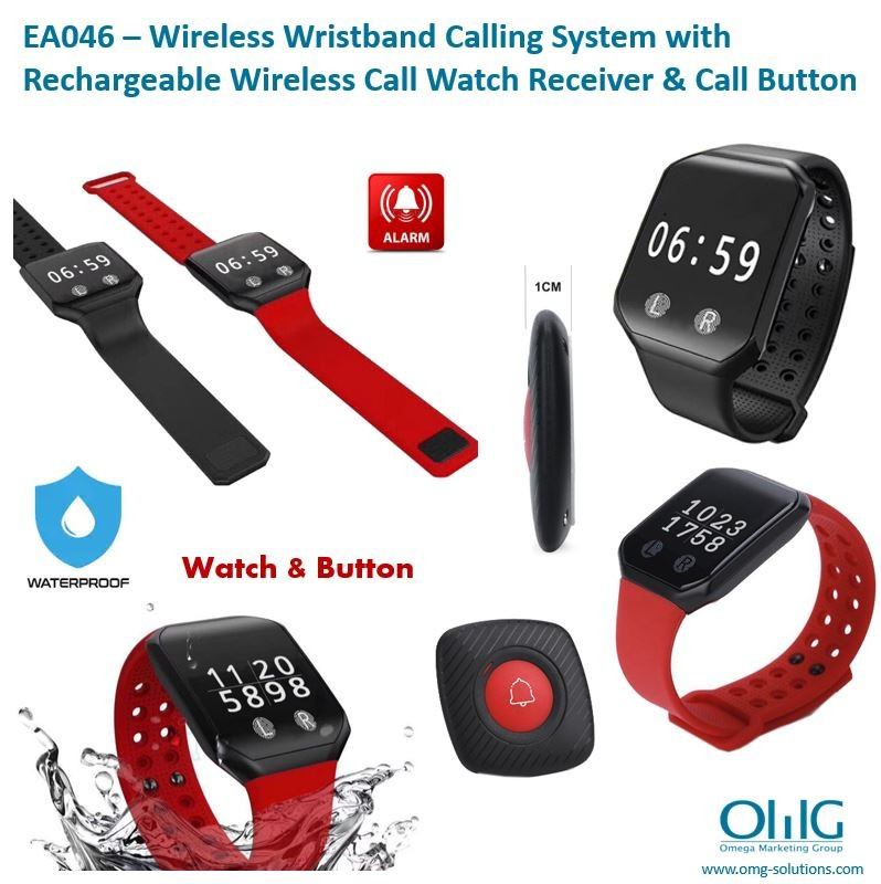 EA046 - Wireless Wristband Nurse Call System with Rechargeable Wireless Call Watch Receiver & Call Button
