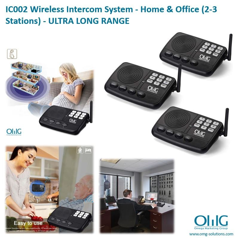 IC002- OMG Wireless Intercom System - Home & Office (2-3 Stations) - 1500 FT LONG RANGE 7 Channel