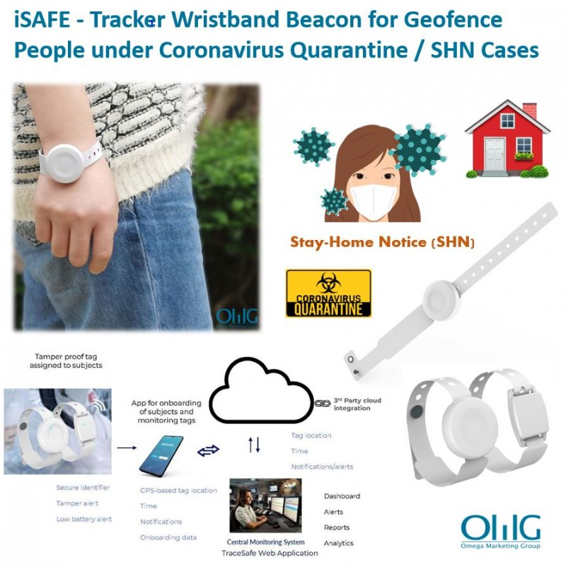 iSAFE - Tracker Wristband Beacon for Geofence People under Coronavirus Quarantine SHN Cases