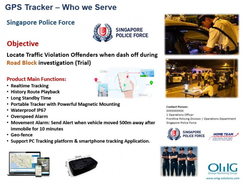 GPS Tracker - Singapore Police Force - Road Block Investigation - Track Traffic Violation Offenders Dashing Off