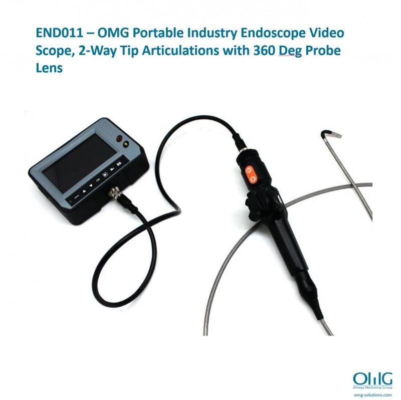 OMGEND011 - OMGEND2 - Портативний відеоохоплюючий ендоскоп промисловості з артикуляціями наконечника 150, більше ніж на Deg 360, об'єктив зонда може обертати 01 Deg XNUMX