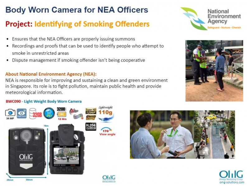 Body Camera Project - National Environment Agency - Catching of smokers - OMG Solutions