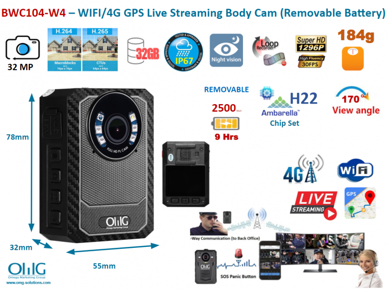 BWC104-W4 - WIFI 4G Body Worn Camera (Removable Battery) - Main Image