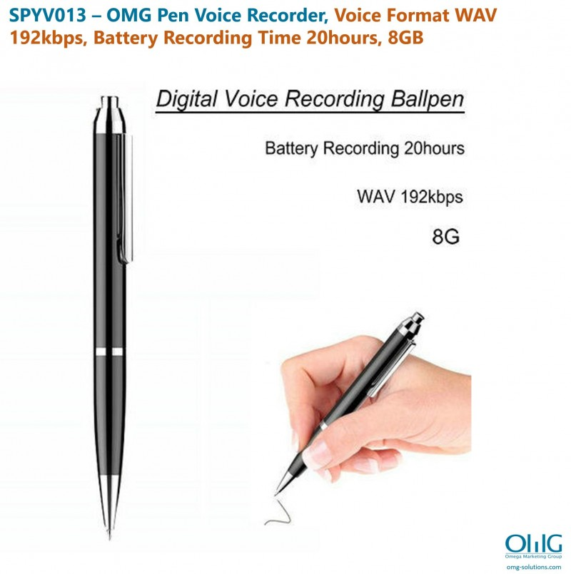 SPYV013 – OMG Pen Voice Recorder, Voice Format WAV 192kbps, Battery Recording Time 20hours, 8GB