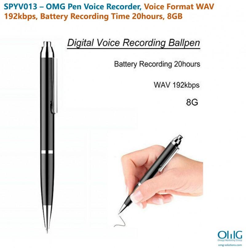 SPYV013 - OMG Pen Voice Recorder, Hoʻololi Leo WAV 192bps, Wā Hoʻopaʻa Pūnaewele 20hours, 8GB