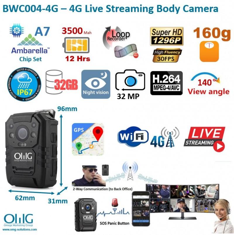 BWC004-4G – 4G Live Streaming Body Camera