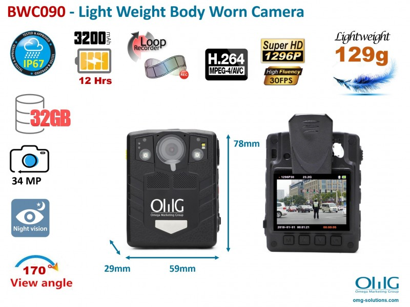 BWC090 – Light Weight Police Body Worn Camera for Security Guards (Wide Angle 170-Degree 12 Working Hrs)