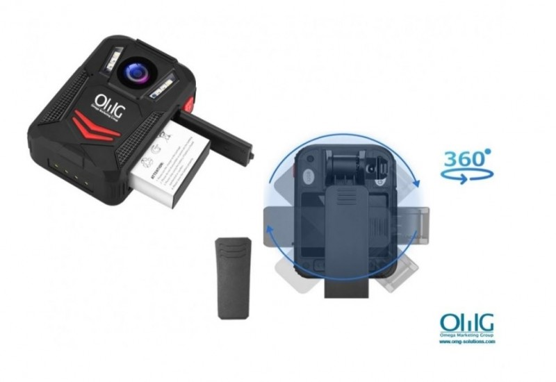 BWC095 - OMG Removable Battery Body Worn Camera - 360 degree rotation