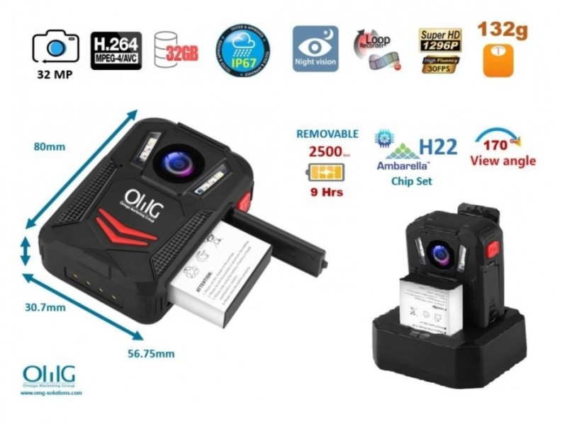 BWC095 - OMG Removable Battery Body Worn Camera - Features