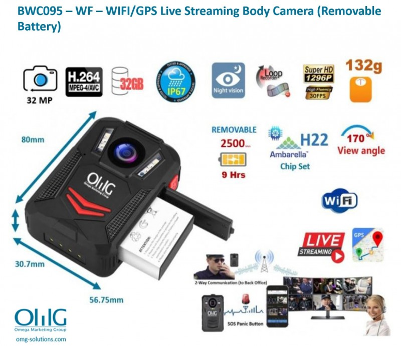 BWC095 - OMG Removable Battery Body Worn Camera - Removable Battery - Features