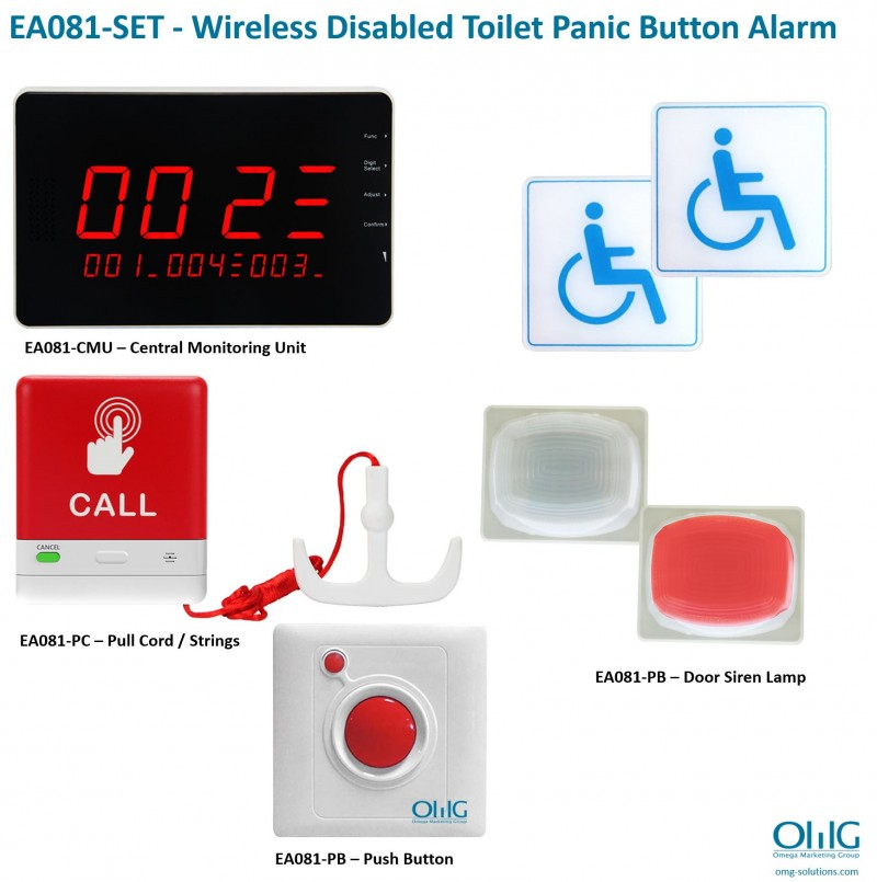 EA081-SET - Wireless Disabled Toilet Panic Button Pull Cord Strings Alarm - Main Page