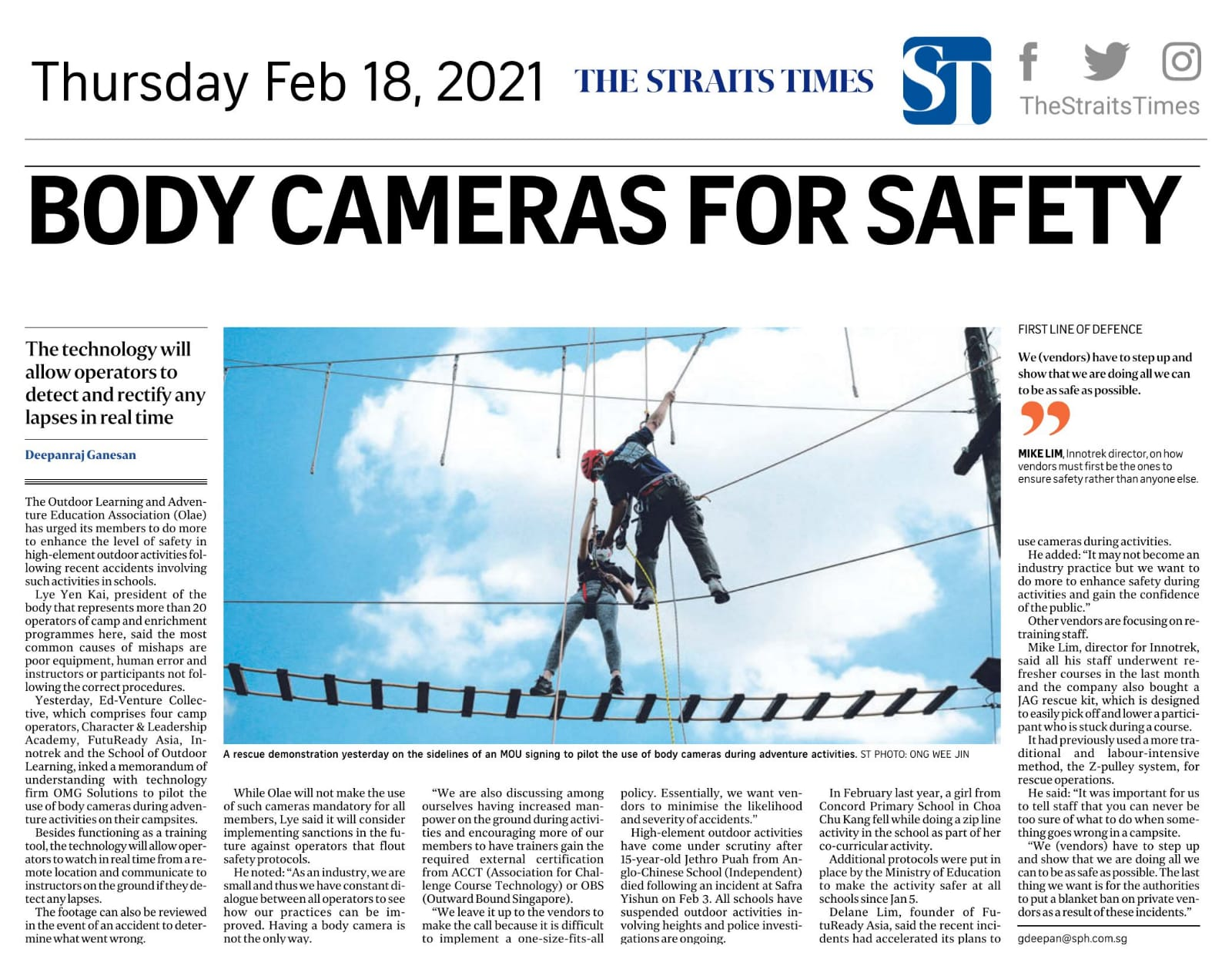 The Straits Times - Live Streaming Body Camera for Safety (Feb 8 2021) - Large
