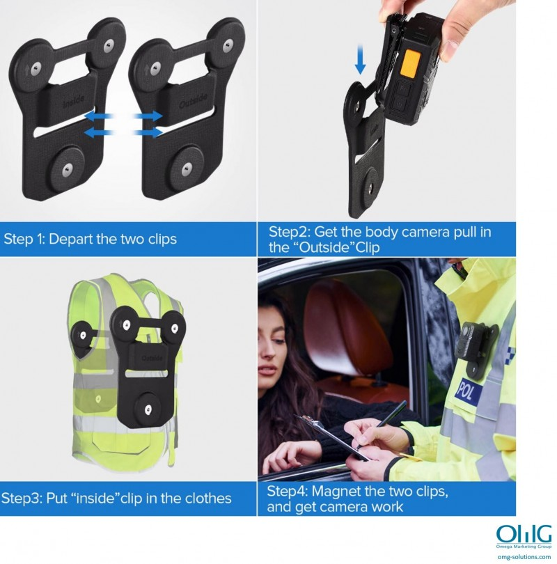 BWA002-MH01 - Body Worn Camera Magnetic Clip Holder - Step to put on the clip