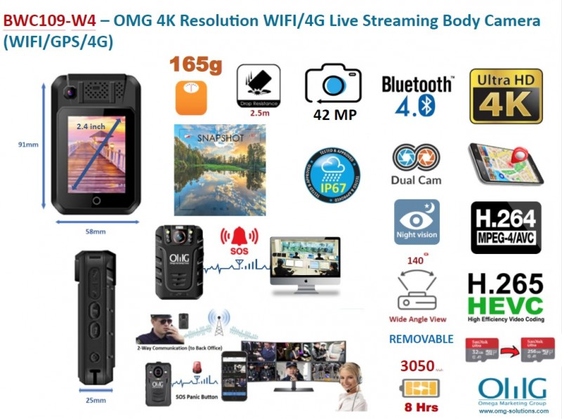 BWC109-OMG 4K Resolution Live Streaming Body Worn Camera