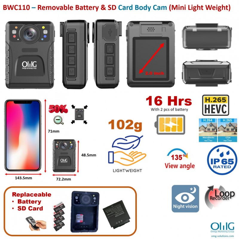 BWC110 – Removable Battery & SD Card Body Camera (Mini Light Weight) v2-0