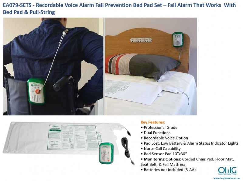 EA079-SETS - OMG Recordable Voice Alarm Fall Prevention Bed Pad Set - Fall Alarm That Works With Bed Pad & Pull-String