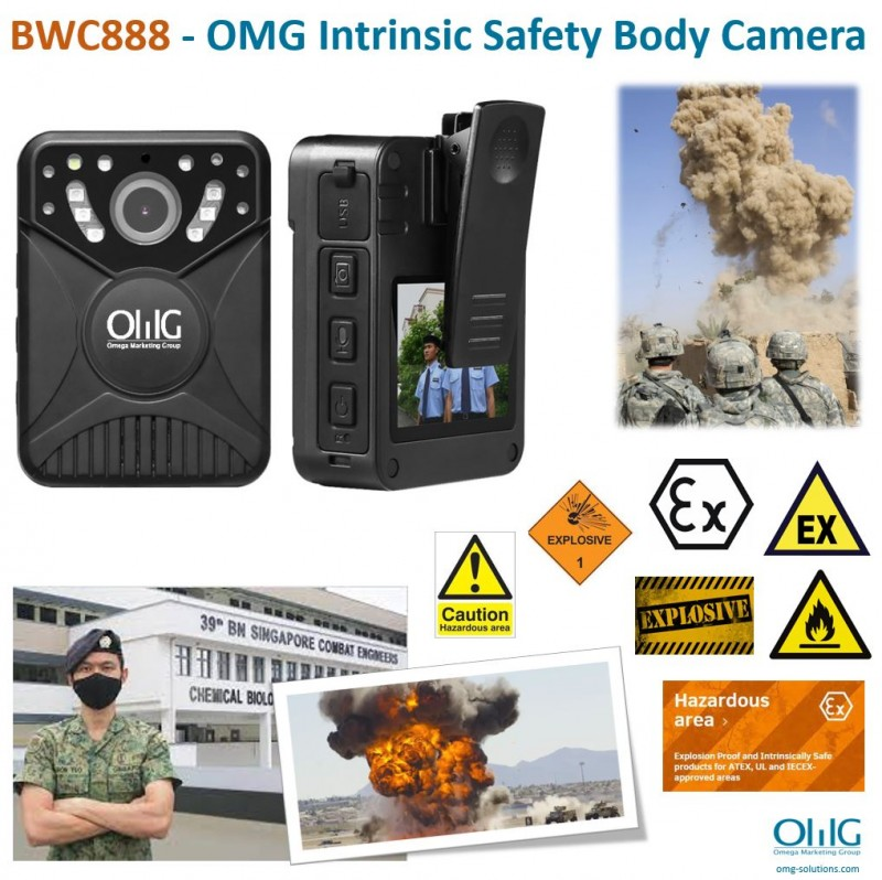 BWC888 - OMG Intrinsic Safety Explosive Proof 4K Body Camera for Army Camp Oli and Gas Industry v2