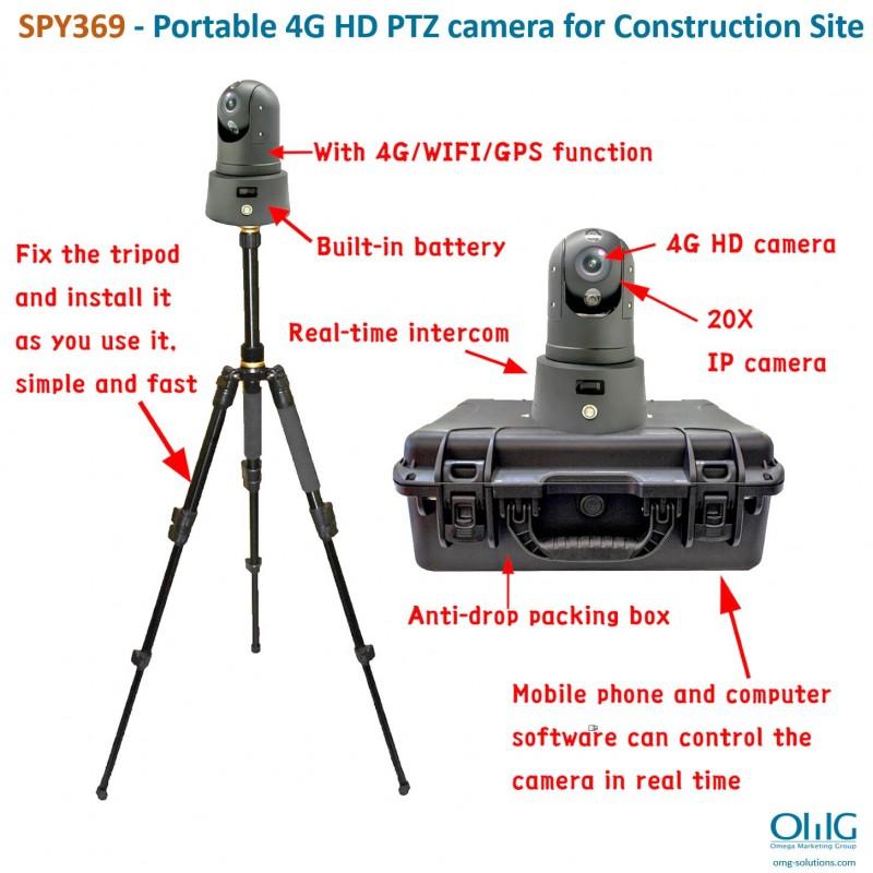 SPY369 - Portable 4G HD PTZ camera for Construction Site