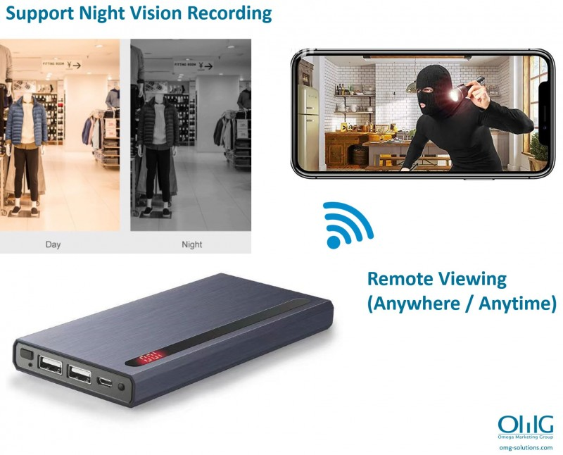 SPY374 - OMG Wifi Live Streaming Power Bank Hidden Spy Camera - Night Vision + Remote Viewing