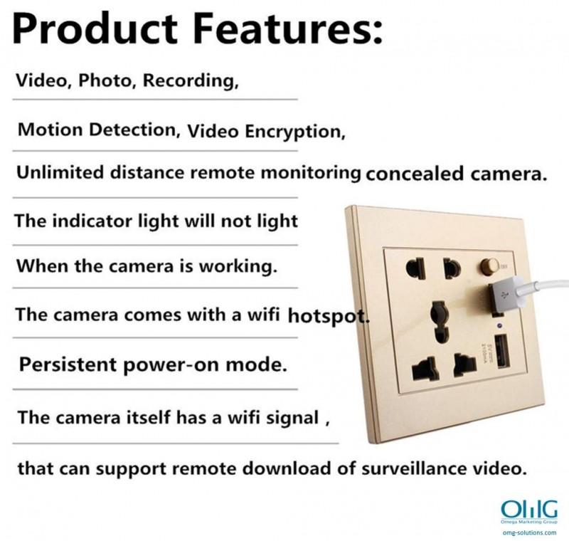 SPY375 - OMG 4K WiFi Power Socket Hidden SPY Camera - Features v2