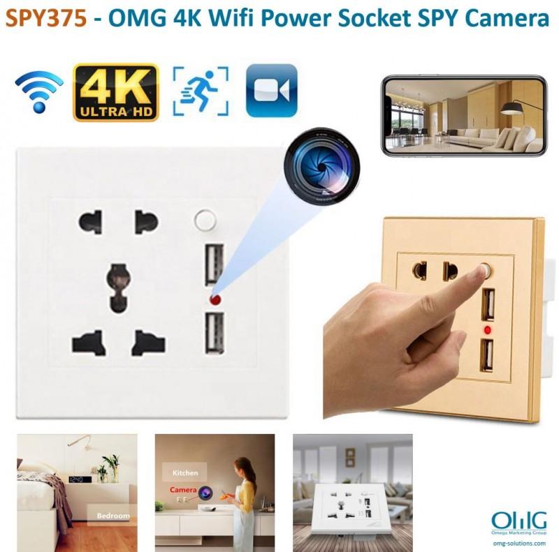 SPY375 - OMG 4K WiFi Power Socket Hidden SPY Camera - Main