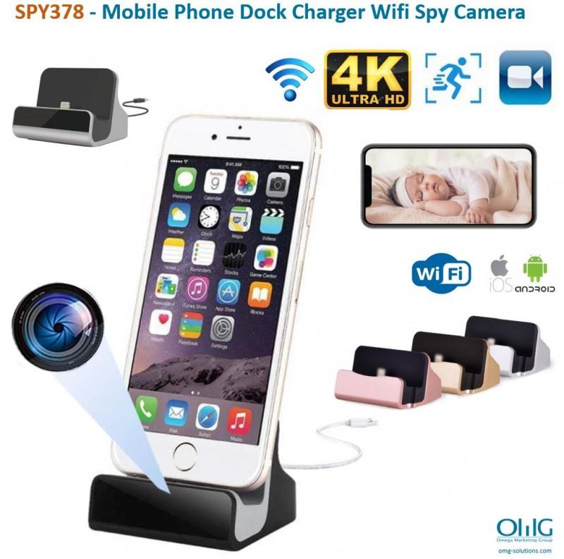 SPY378 - Mobile Phone Dock Charger Wifi Spy Camera