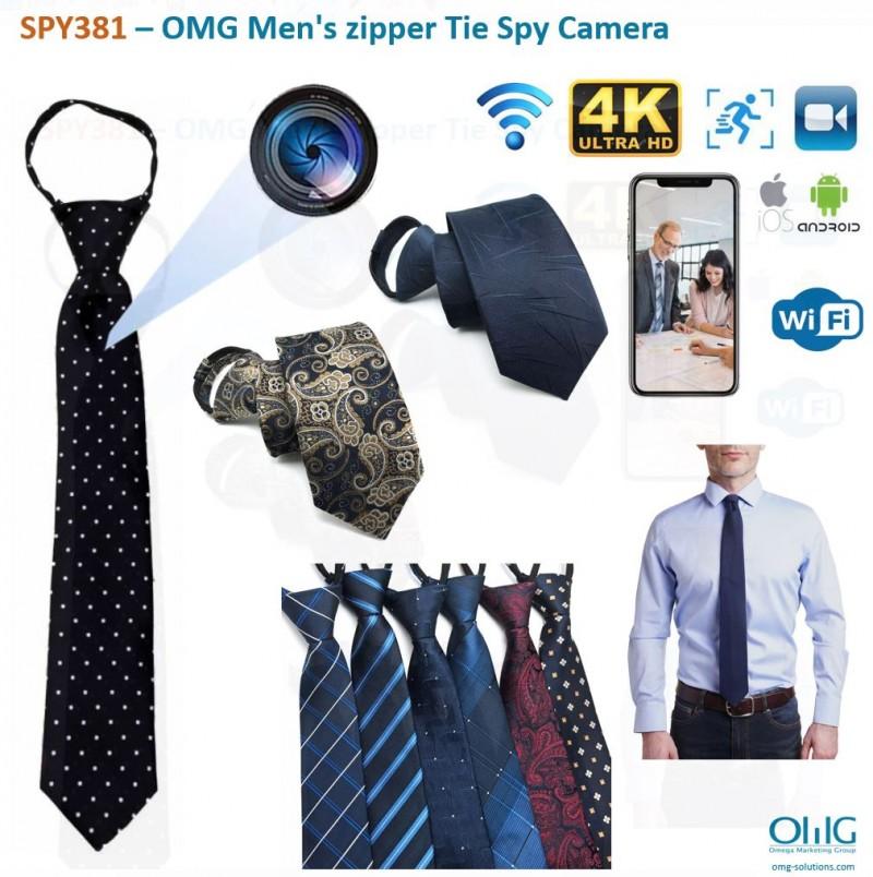 SPY381 - OMG Men's zipper Tie Hidden Spy Camera - Main