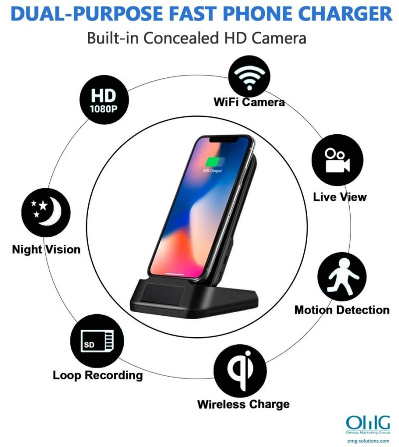 SPY385 - OMG Wireless iPhone Android Phone Charger Hidden Spy Camera - Features v2