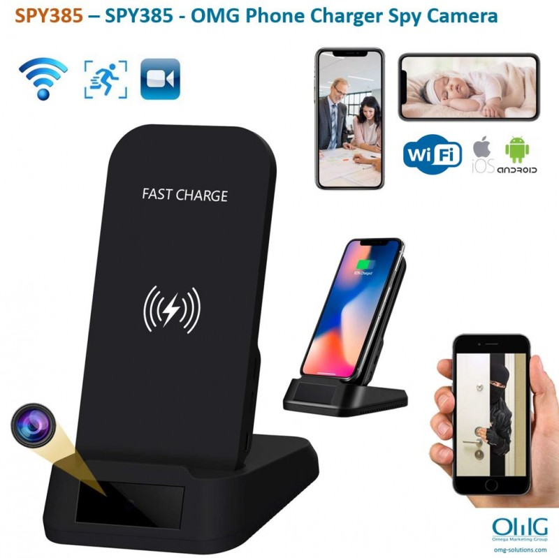 SPY385 - OMG Wireless iPhone Android Phone Charger Hidden Spy Camera - Main