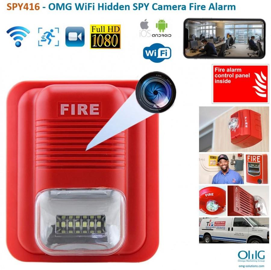 SPY416 - OMG WiFi Hidden SPY Camera Fire Alarm Siren Strobe - Main v2
